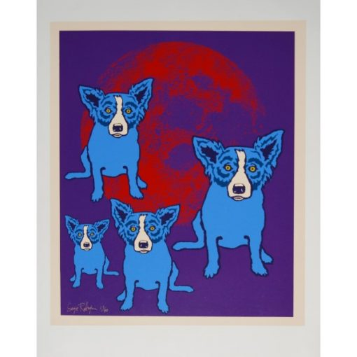 blue dogs by red moon