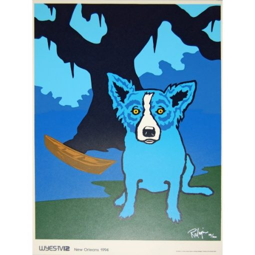 blue dog in front of tree