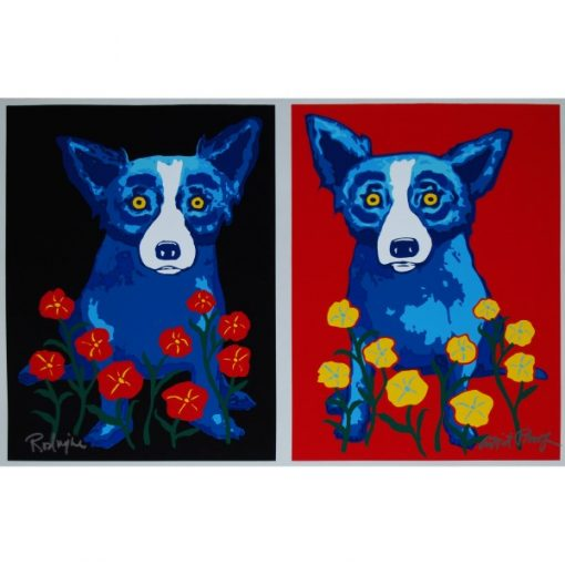 blue dogs with flowers