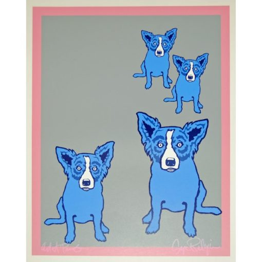 4 blue dogs on silver background with pink border
