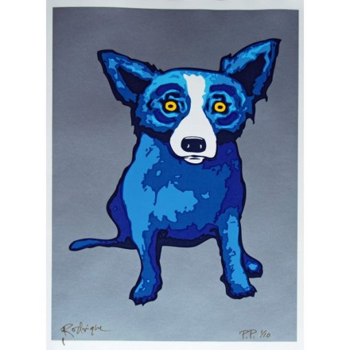 blue dog on silver background