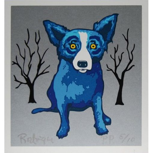 blue dog silver background trees