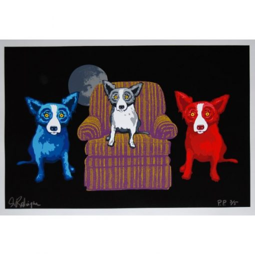 blue dog red dog black and white dog on chair