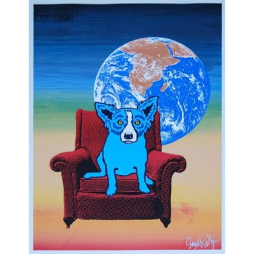 blue dog in chair moon background