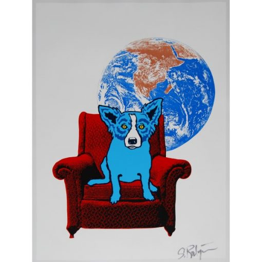 blue dog on chair moon background white
