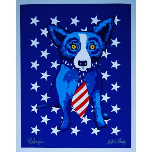 blue with american tie and stars