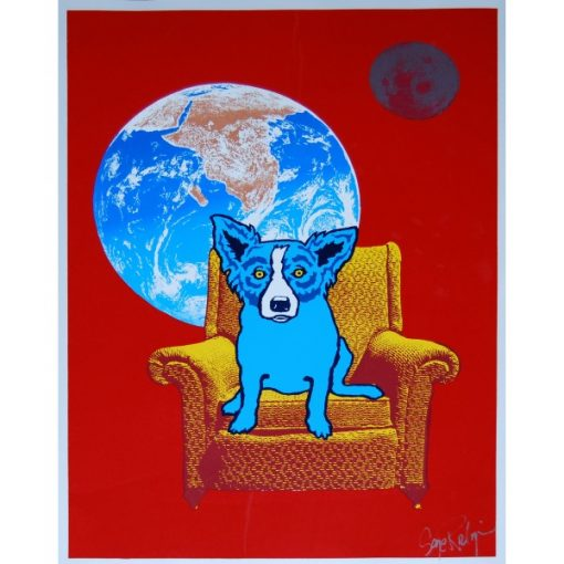 blue dog on chair moon red background