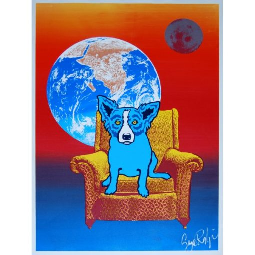 blue dog on chair moon in background