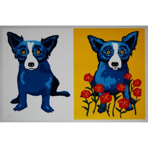 2 blue dogs one with flowers and yellow background