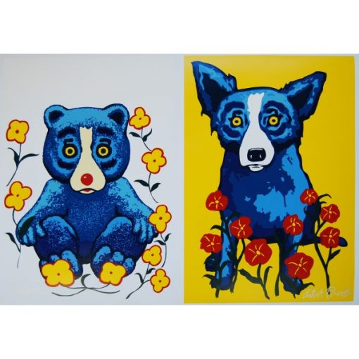 blue dog and bear surrounded by flowers