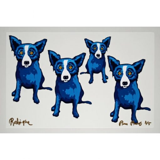 4 blue dogs one white background