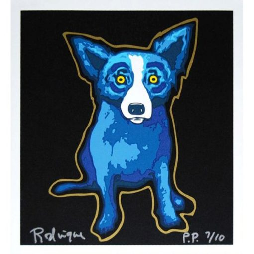 blue dog with golden outline