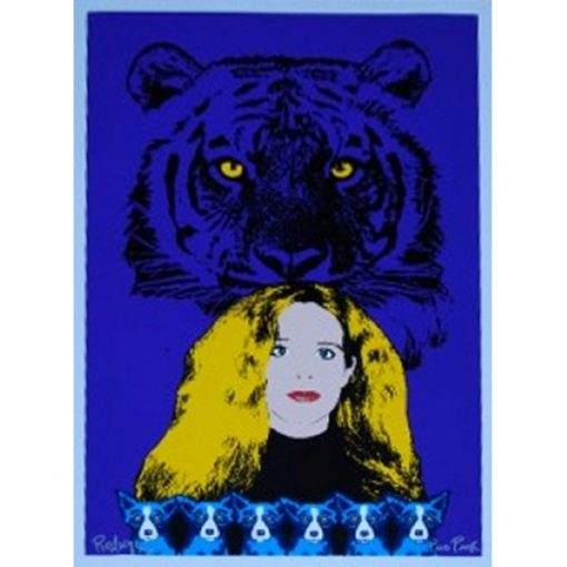 wendy with tiger background blue background