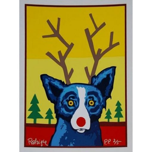 blue dog with antlers