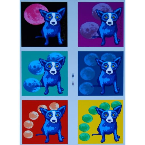 blue dogs in 6 different background with moons
