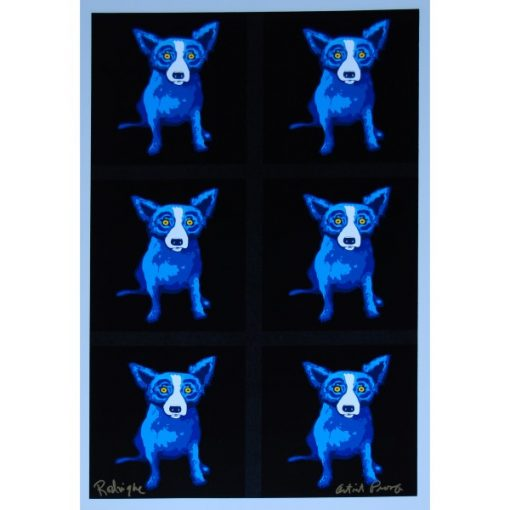 6 blue dogs on black background