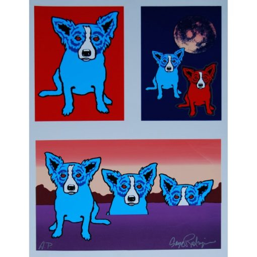 blue dogs 3 backgrounds with moon