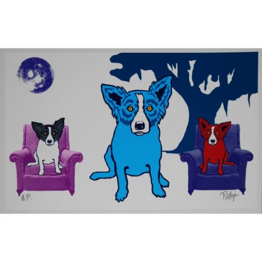 dogs in chair with tree white background