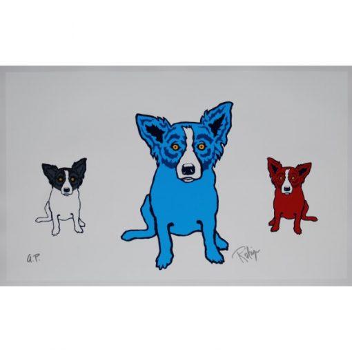 blue dog tiffany and red dog on white background