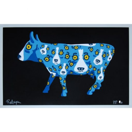 blue dogs on a cow black background
