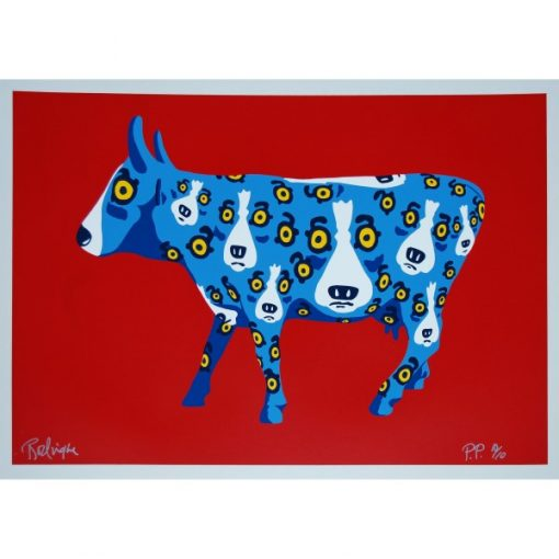 blue dogs on cow red background