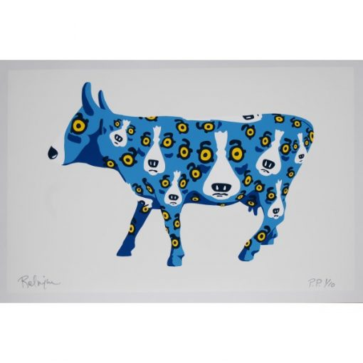 blue dogs in cow white background