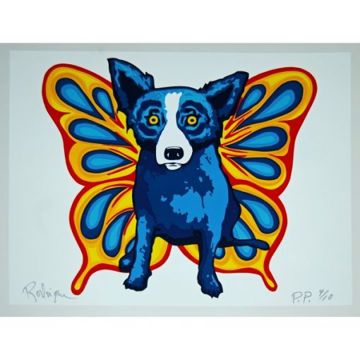 blue dog with butterfly