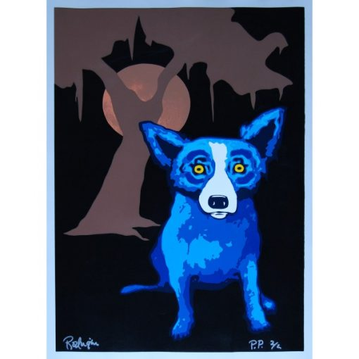 blue dog in front of tree with moon