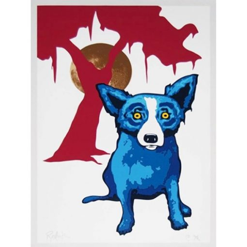blue dog in front of red tree and gold moon
