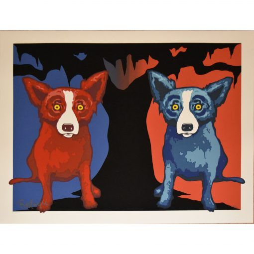 red dog and blue dog by tree