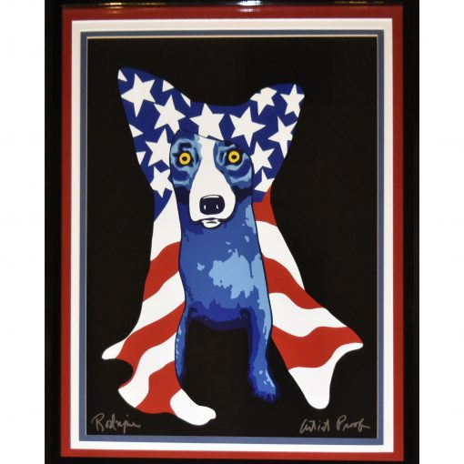blue dog with american flag hang over