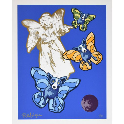 angel with blue dogs floating blue back ground