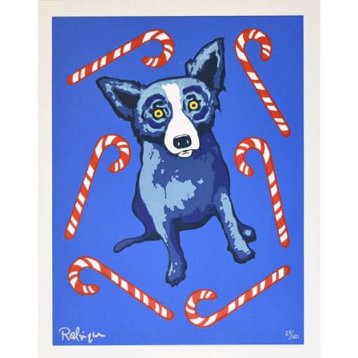 blue dog with candy canes around him