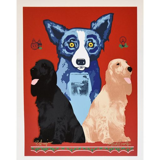 blue dog with 2 regular dogs