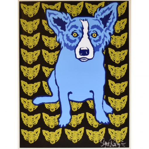 blue dog gold blue dog heads in background