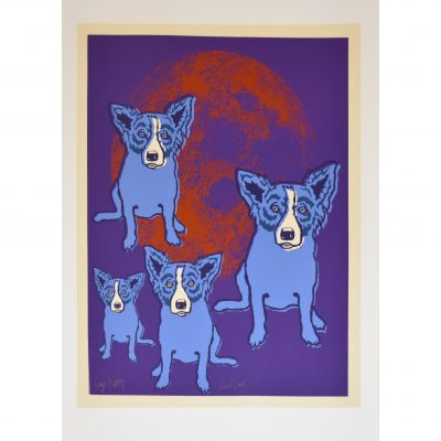 blue dogs in front of red moon