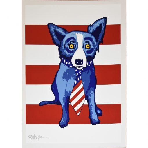 blue dog red stripes background